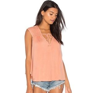 Free People Back In Town Peach Knit Blouse